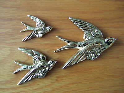 1930s ART DECO FULLY RESTORED SET OF 3 BRASS FLYING SWALLOWS/BIRDS, WALL PLAQUES