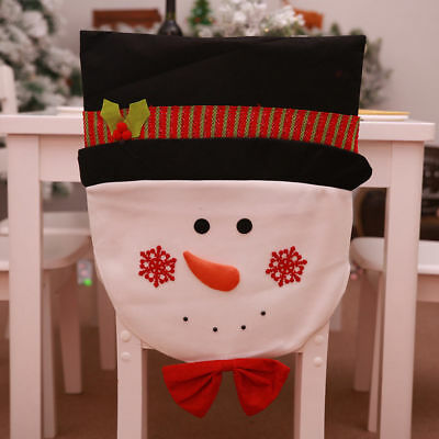 Christmas Chair Back Covers.Christmas Chair Cover Santa Claus Snowman Decorations For