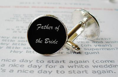 Father Of The Bride Wedding Cuff Links Black And Silver Wedding Party Cufflinks