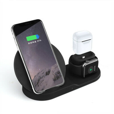 US Qi Wireless Charger 3in1 Charging Dock For Apple iWatch 2/3 iPhone X XR XSMax