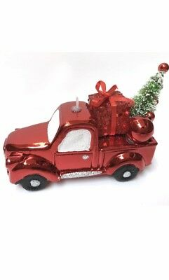 Red Country Truck Hauling Christmas Tree Ornament Farm - Will Combine Shipping