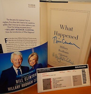 """FLASH SALE only $159 """"What Happened"""" Book SIGNED by both BILL & HILLARY CLINTON"""