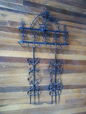 "Antique Old Wrought Iron Utensil Pot Rack Fireplace Kitchen ""French Quarter"""
