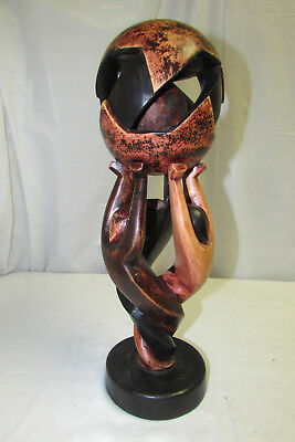 "Unique 15"" Wood Carved Folk Art Statue Figure with Mystery Ball African?"