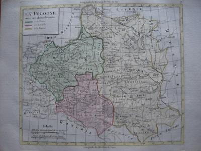 1790s - LATTRE - Nice map POLAND PRUSSIA LITHUANIA