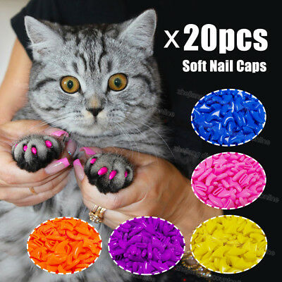 20pcs Silicone Soft Cat Nail Caps Cat Paw Claw Pet Nail Protector Cat Nail Cover