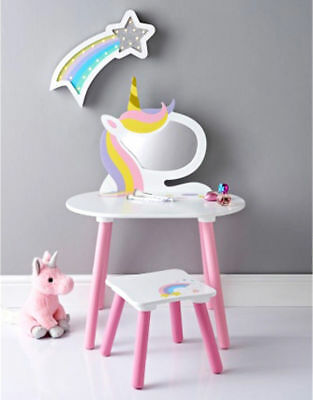 Unicorn Vanity Set Childrens Wooden Pink White Dressing Table With Mirror Stool