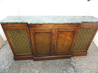 reproduction,antique,mahogany,marble top,break front,sideboard,cabinet,bookcase