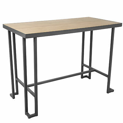 Lumisource Roman Bar Stool Table In Grey Metal With Natural Bamboo CT-RMN GY+NA
