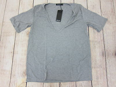 Nasty Gal Women/'s S//S Riley Scoop Solid T-Shirt HD3 Grey Medium//Large NWT