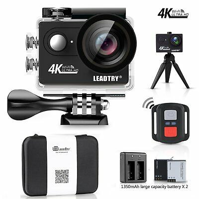 LeadTry HP7R Plus Sport Action Camera WiFi,4K 12MP HD Mini Cam,100Ft Underwat...