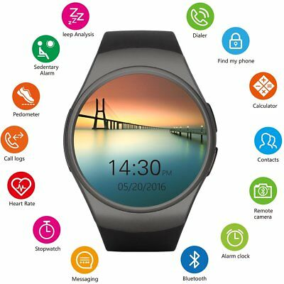Getfitsoo KW18 Round Color Screen Smart Bracelet Fitness Tracker Watch with H...