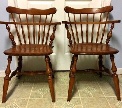 2 (Two)  Ethan Allen Solid Maple Windsor Comb Back Captain Arm Chairs - Nice!!!