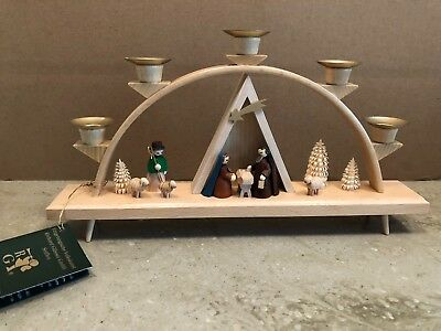 "New German Wood Nativity Candle Arch 13"" Handmade Erzgebirge Glasser Christmas"