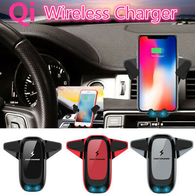 10W QI Wireless Fast Charger Car Mount Holder Stand For iPhone X 8 XR Samsung S9