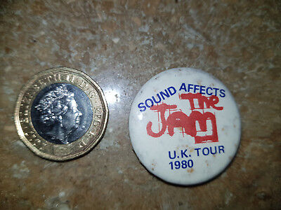 VINTAGE 1970s/80s 32 mm THE JAM 1980 SOUND AFFECTS TOUR  BADGE MODS BADGE PIN B