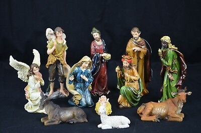 11 Pcs Polyresin Christmas Nativity Set In 20cm Height.