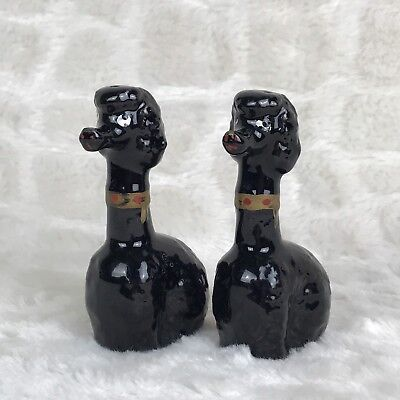 Vintage Redware Lot Of 2 Black Poodle Salt And Pepper Shakers