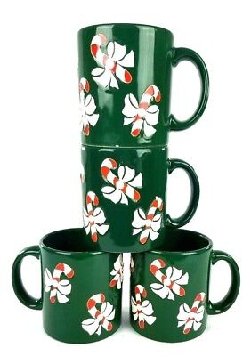 Waechtersbach Lot of 4 Green Candy Cane Coffee Mugs Cups Christmas West Germany