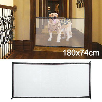 180*74cm Magic Mesh Pet Dog Cat Gate Door Barrier Safe Net Guard Fence UK