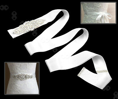 Bridal Wedding Dress Belt Bride Sash Crystal Sparkle Rhinestones Ribbon White