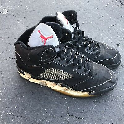 4ecf219d0c53 1990 NIKE AIR JORDAN 5 V BLACK Metallic OG SIZE 12 Original VTG ...