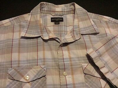 Banana Republic Mens XL Short Sleeve Button-Front Multicolor Plaid Check Shirt