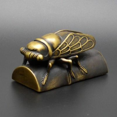 Exquisite China Old Handwork Brass Cicada Bamboo Paperweight Statue