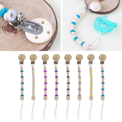 Dummy Clip Holder Pacifier Clips Soother Chains Wooden Beads Teething Toys Baby