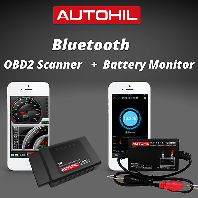 AUTOHIL DEAL- AX2 Bluetooth Car OBD2 Scanner + ABM2 Bluetooth Battery Monitor