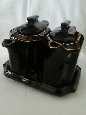 """Vtg Japanese Brown Redware Moriage 3 Piece  """"Two For Tea """" Set"""