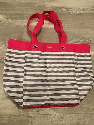 Thirty One Gifts Hot Pink, Gray and White Strips Open Tote