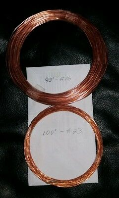 90 FEET BARE BRIGHT #16 AWG GUAGE & 100 ' #23 SOLID COPPER WIRE CRAFT jewelry