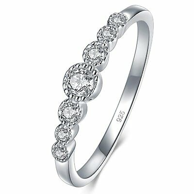 SEMAID 925 Sterling Silver Ring AAAAA+ Cubic Zirconia Eternity Band Size L-V