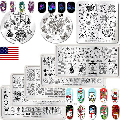 BORN PRETTY Nail Art Image Stamping Plates Templates Manicure Christmas Flower