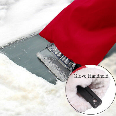 Car Ice Scraper Windscreen Window Snow Frost Winter Fleece Lined Mitt Glove New