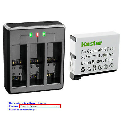 Kastar Battery Triple Charger for GoPro AHDBT-401 GoPro HD Hero 4 Black & Silver