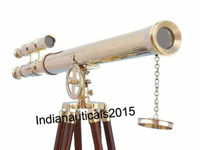 Vintage Solid Brass Brown Tripod Port Marine Navy Double Barrel Telescope