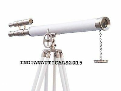 Authentic Nickel With White Leather Griffith Astro Telescope White Wooden Tripod