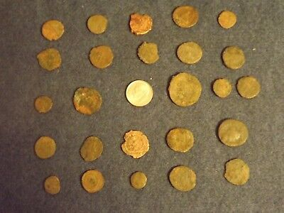 LOT OF 25 ANCIENT BRONZE ROMAN COINS Unclean Mid-Low Grade WWII North Africa 25
