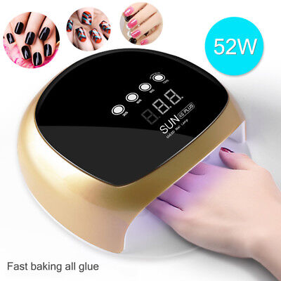 52W Pro Nail Polish Dryer Lamp LED UV Gel Acrylic Curing Light Manicure Timer