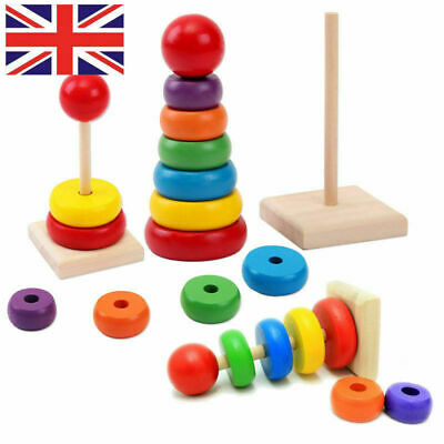 Building Blocks Rainbow Tower Ring Wooden Toy Baby Child Children Stacking 1PCs