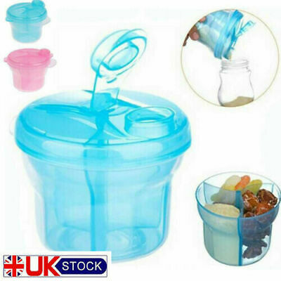 Portable Baby Milk Powder Dispenser 3 Section Infant Kids Food Container Pink
