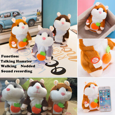 Talking Hamster Cute Nod Mouse Record Chat Mimicry Pet Plush Toy Xmas Kids Gift