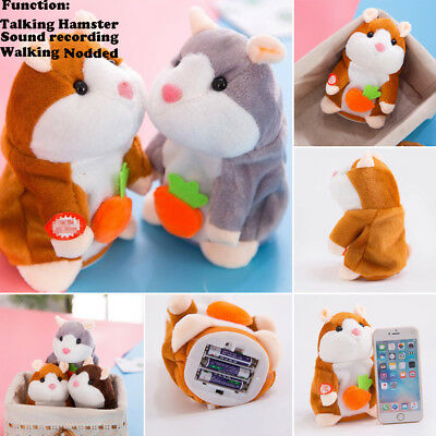 Cute Talking Hamster Electronic Plush Toy Mouse Pet Sound Gift Children 16 cm
