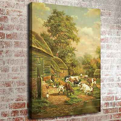 """Rural Cows Poster 16""""x22"""" HD Canvas prints Painting Home Decor Picture Wall art"""