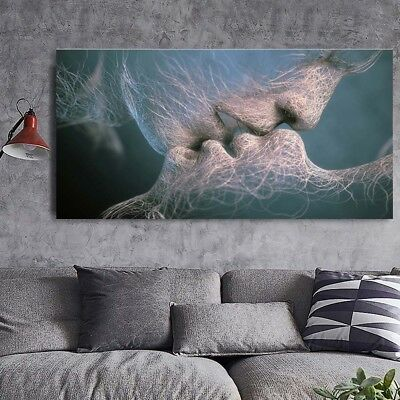 Black White Love Kiss Abstract Painting Canvas Art Picture Bedroom