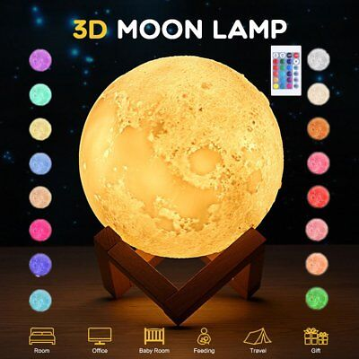 Dimmable 3D Magical Moon Lamp LED Night Light Moonlight 16 Colors Remote Control