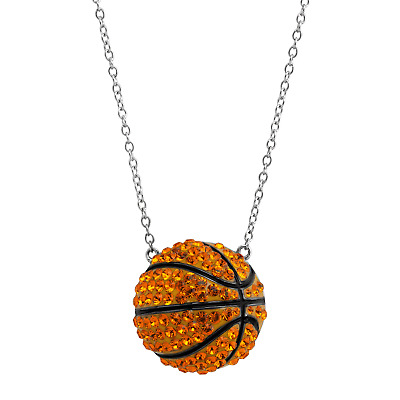 Crystaluxe Basketball Pendant with Swarovski Crystals in Sterling Silver
