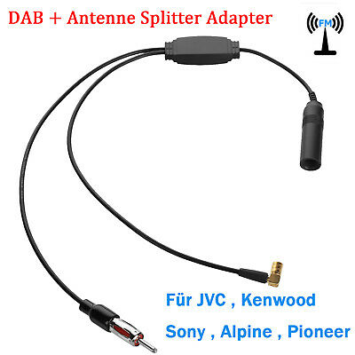 DAB FM AM Aktiv Antenne Splitter Adapter Kabel Digital Auto Radio Verstärker DE